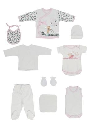 Pattaya Kids Kız Bebek 10'lu Ayıcık Baskılı Hastane Çıkış 0-3 Ay P-t2107