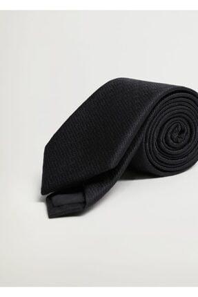 MANGO Man Erkek Siyah Geometrik Baskılı Kravat