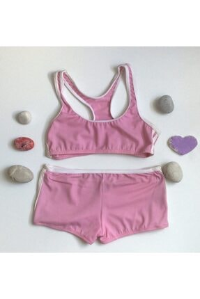 Kom Kız Çocuk Sporcu Bikini Pembe Şortlu Bikini