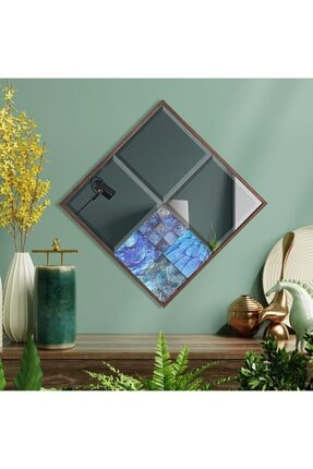 bluecape Amalfi 42x42 Cm Doğal Ağaç Çerçeveli Antik Limra Taşlı Bizoteli Salon Dresuar Konsol Ofis Butik Ayna