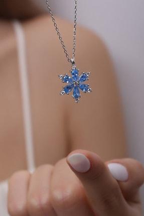 LOTUS GÜMÜŞ Kamelya Çiçeği Mavi Taşlı 14 K Rose Altın Kaplama Kadın Kolye