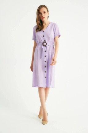 Robin Düğmeli Kemer Detaylı Elbise Lila