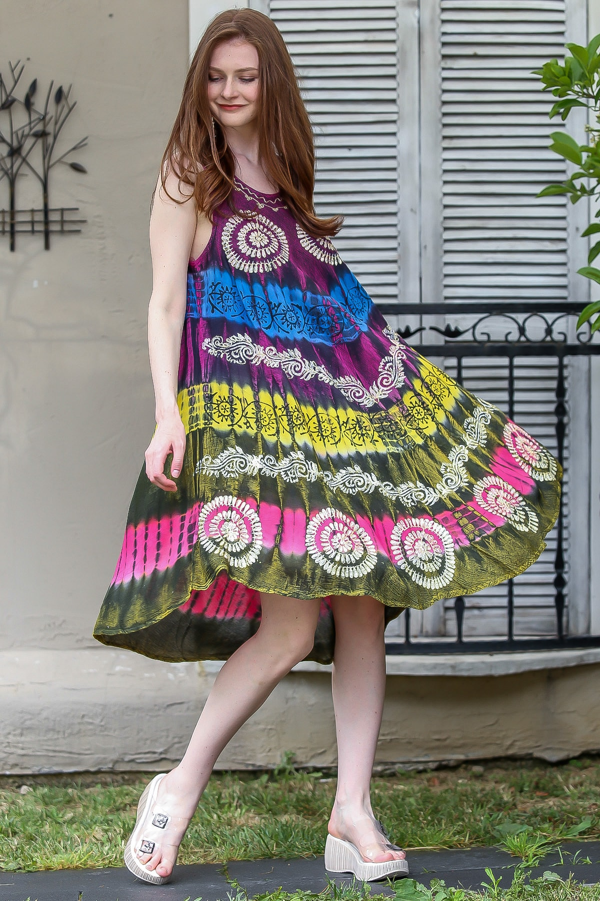 Chiccy Kadın Mor-Yeşil Batik Çiçek Desenli Elbise M10160000EL94839