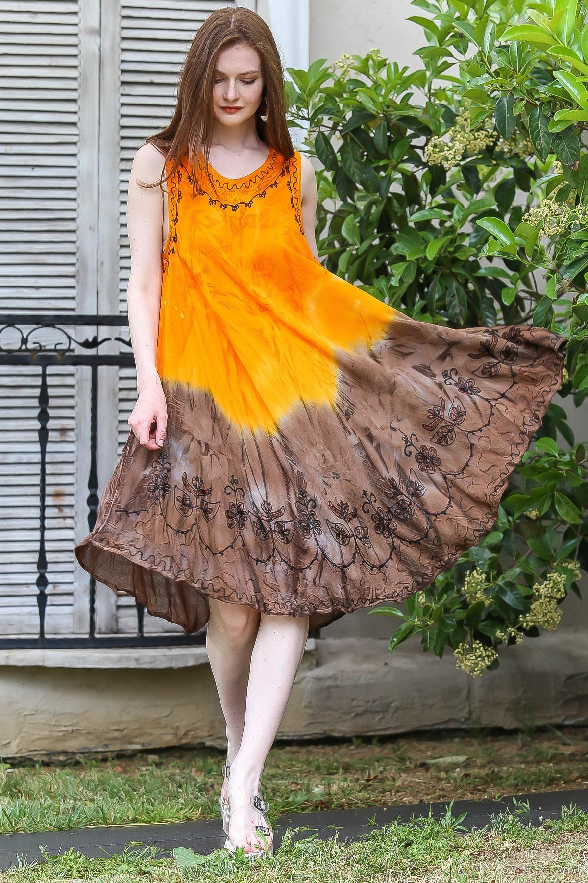 Chiccy Kadın Turuncu-Kahve İki Renk Bloklu Batik Elbise M10160000EL94833