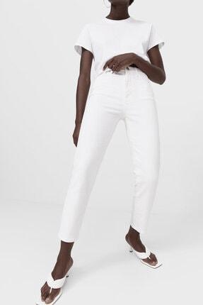 Stradivarius Kadın Beyaz Slim Fit Mom Jean