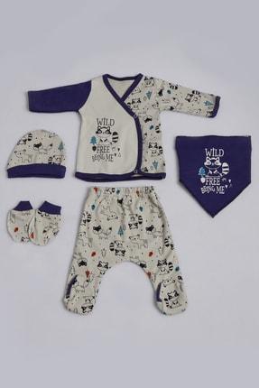 Pattaya Kids Erkek Bebek Kedili 5li Zıbın Seti 0-3 Ay Pb21s505-1189