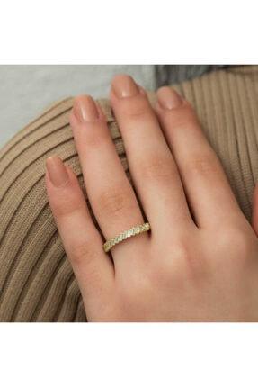 Gumush Kadın Gümüş Gold Sıralı Baget Taşlı Yüzük