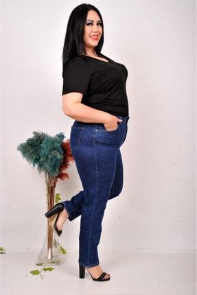 cracpot Mavi Battal Yüksek Bel Likralı Mom Pantolon (kemer Dahil)