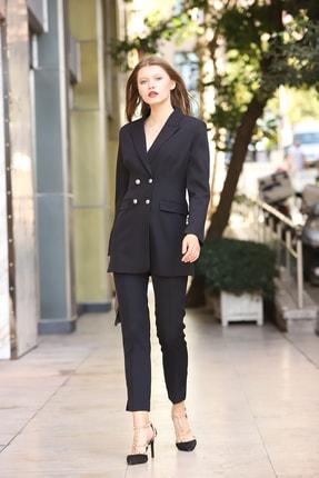 MANGOSTEEN Kadın Takım Elbise Dört Düğmeli Uzun Ceket ve Fit Pantolon