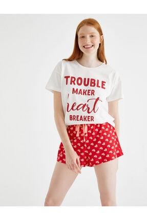 Koton Kadın Kırmızı Desenli Pijama Takımı