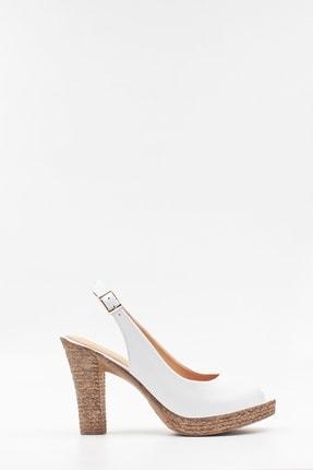 West To West Deri Beyaz Kadın Sandalet