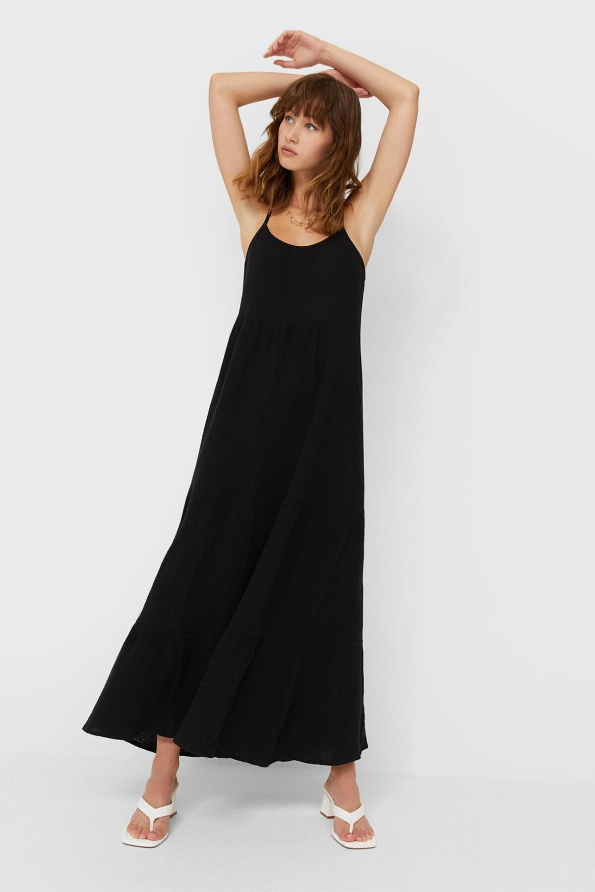 Stradivarius Kadın Siyah Rustik Midi Elbise