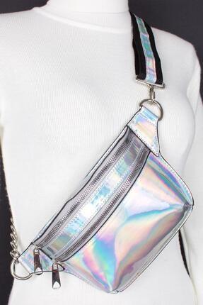 Bagacar Fashion Tulum Gögüs Bel Çantası Beyaz Hologram