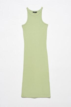 Dilvin Halter Yaka Elbise Haki Renk 01200