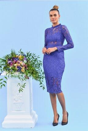 Moda Clear Dantel Detaylı Uzun Kol Mavi Abiye Elbise Ruffled