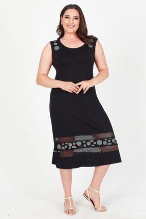 Womenice Kadın Siyah Yakası Eteği Fileli Taşlı Sıfır Kol Büyük Beden Elbise