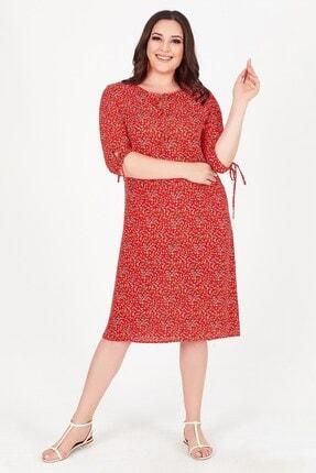 Womenice Kadın Kırmızı Çiçek Desenli Yaka Bağlamalı Büyük Beden Elbise