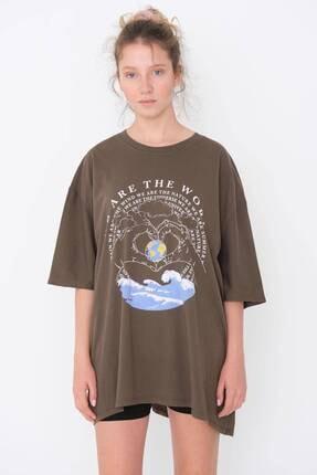 Addax Baskılı Oversize T-shirt P9601 - A7