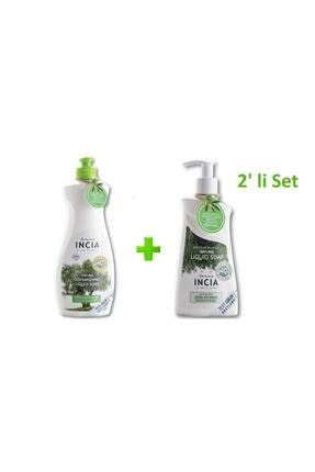 Incia Doğal Sıvı Bulaşık Sabunu 500ml+ Zeytinyağlı Doğal Sıvı Sabun 250ml 2'li Set