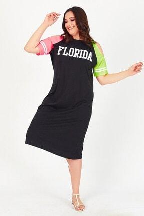 Womenice Kadın Siyah Florida Baskılı Büyük Beden Elbise