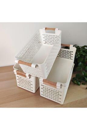 Keven Home 5 Adet - Çok Amaçlı Ahşap Tutacaklı Organizer Sepet - Dolap Içi & Çekmece Düzenleyici Sepet - Beyaz