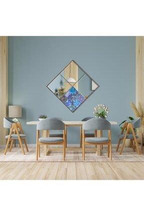 bluecape Amalfi 62x62 Cm Doğal Ağaç Çerçeveli Antik Limra Taşlı Bizoteli Salon Dresuar Konsol Ofis Butik Ayna