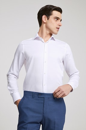 D'S Damat Erkek Gömlek Beyaz Renk Slim Fit