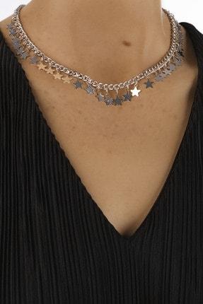 Marjin Kadın Gümüş Renkli Yıldız Figürlü Zincir Kolye