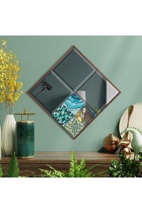 bluecape Valensiya 42x42cm Doğal Ağaç Çerçeve Antik Limra Taşlı Bizoteli Salon Dresuar Konsol Ofis Butik Ayna