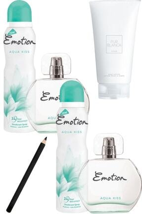 Emotion Aqua Kiss Kadın Parfüm Seti Edt 50ml + 150ml Deo 2'li Korfe Set+ Pur Blanca Losyon + Kalem