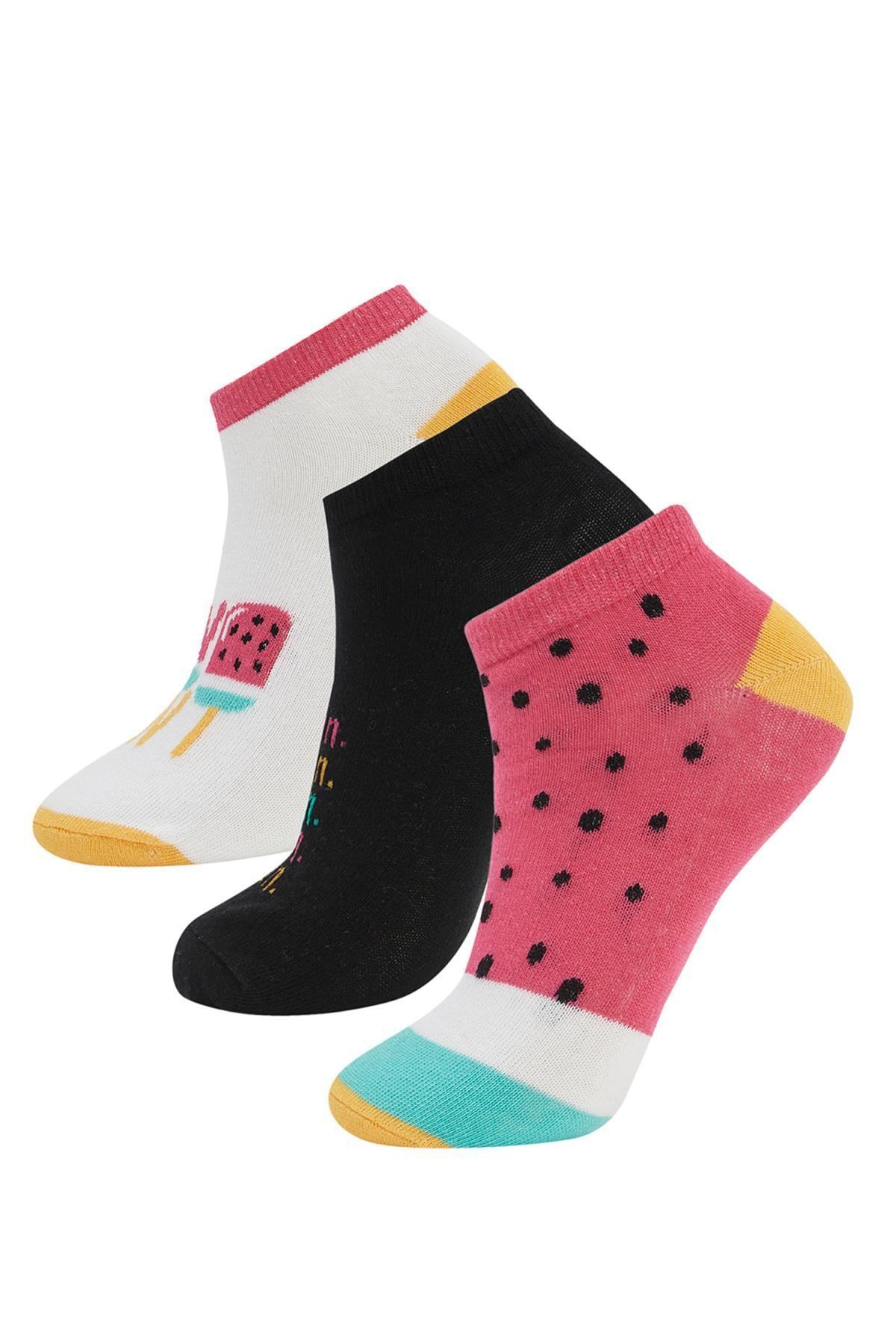 DeFacto Kadın Çok Renkli Desenli 3'Lü Patik Çorap T7409AZ21SPKR