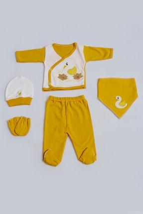 Pattaya Kids Kız Bebek Kuğu Nakışlı 5li Zıbın Seti 0-3 Ay Pb21s505-1175