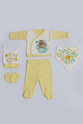 Pattaya Kids Kız Bebek Sevimli Ayı Baskılı 5li Zıbın Seti 0-3 Ay Pb21s505-1181