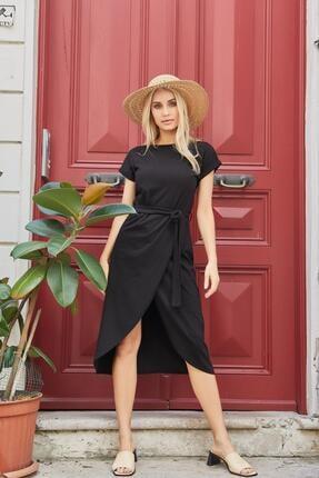 Roop Fabric Belden Bağlamalı Elbise Siyah