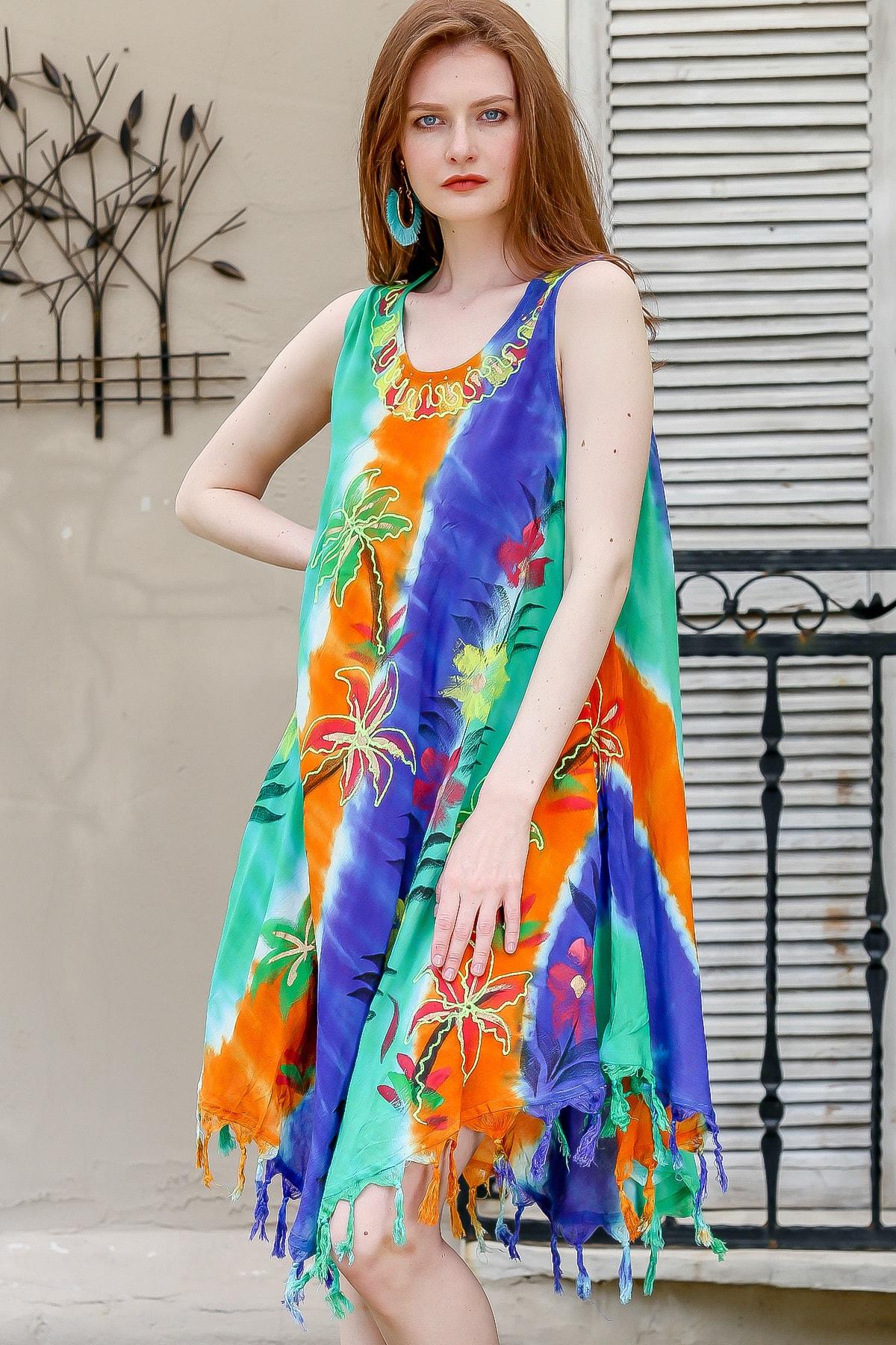 Chiccy Kadın Turuncu-Mavi Dikine Renk Bloklu Batik Elbise M10160000EL94859