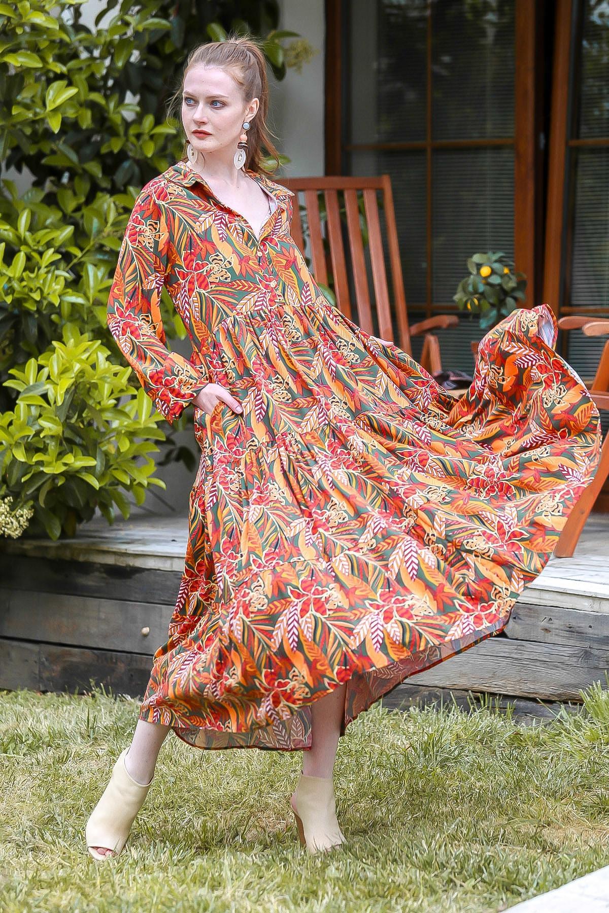 Chiccy Kadın Kiremit Yaprak Desenli Düğmeli Uzun Salaş Dokuma Gömlek Elbise M10160000EL94886