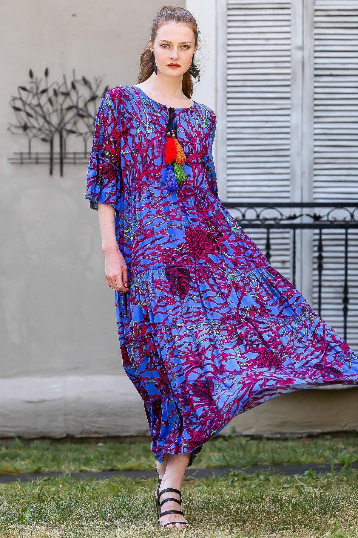 Chiccy Kadın Mor Bağcık Detaylı Kolları Volanlı Mercan Desen Dokuma Elbise M10160000EL94878