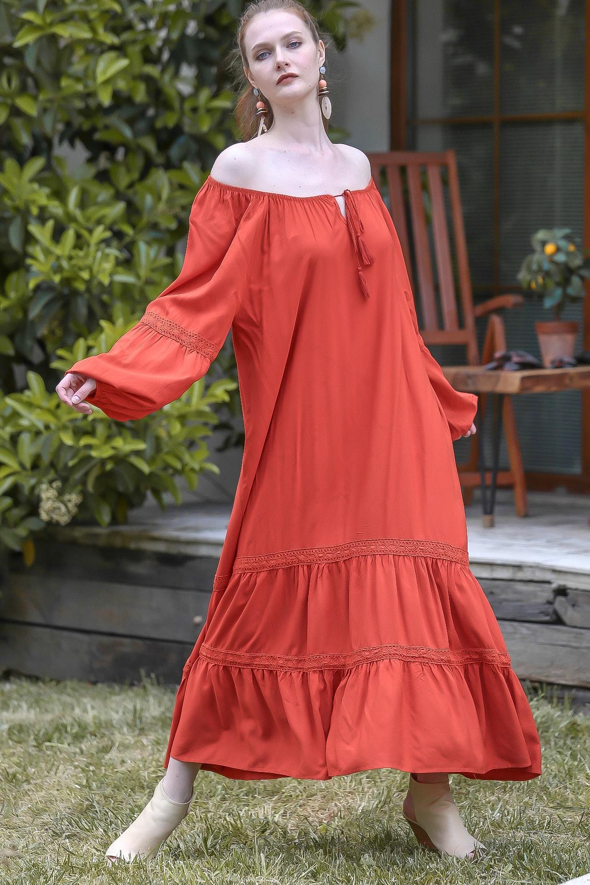 Chiccy Kadın Kiremit Carmen Yaka Kopanaki Detaylı Kolları Lastikli Salaş Dokuma Elbise M10160000EL94889