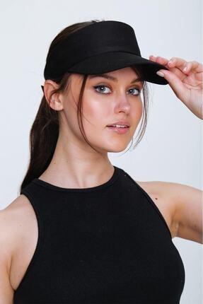 tuplepie Unisex Uv Koruyucu Vizör Kasket Siperlik Tenis Şapka - Siyah
