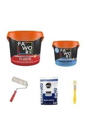 Fawori Plastik Iç Cephe Duvar Boyası 10 Kg + Tavan Boyası 3.5 Kg + Set Renk:kum Beji