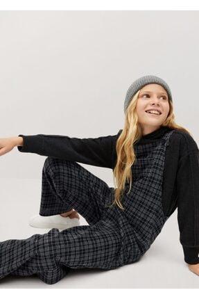 MANGO Kids Kadın Siyah Uzun Kareli Tulum