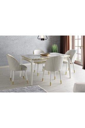 Evistro Ortadan Açılır Salon Yemek Masası Mermer Desen 4 Adet Sandalye Takım