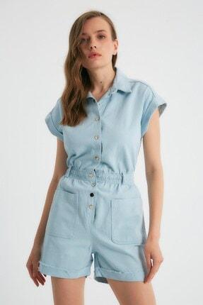 Robin Kadın Cep Detaylı Çıt Çıtlı Jean Tulum Mavi