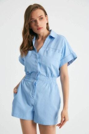 Robin Kadın Cep Detaylı Şort Tulum Mavi