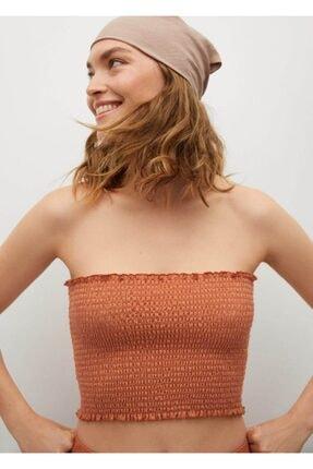 MANGO Woman Kadın Turuncu Drapeli Kısa Üst  Bluz