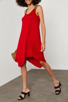 XENA Kadın Kırmızı Omzu Aksesuarlı Asimetrik Elbise 0YZK6-10081-04