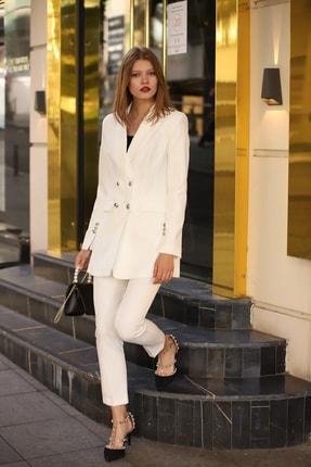 MANGOSTEEN Kadın Dört Düğmeli Uzun Ceket Beyaz