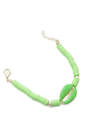 Marjin Kadın Yeşil Renkli Deniz Kabuklu Fimo Boncuklu Bileklik