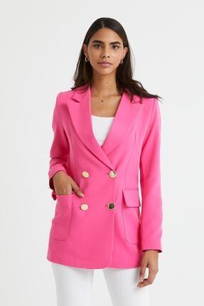 modaado Pembe Atlas Kumaş Blazer Kadın Ceket