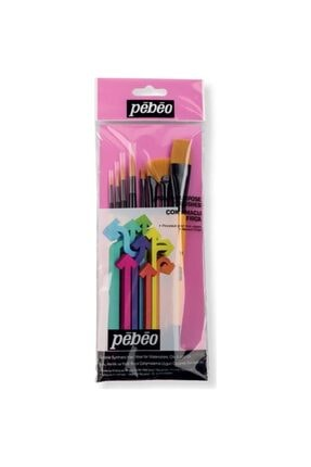 Pebeo 8'li Fırça Seti ( Yağlı Boya Ve Akrilik Için Uygundur) -(yelpaze, Düz Ve Yuvarlak Uçlar)